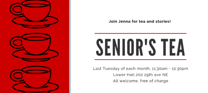 Senior's Tea & Stories – starting Jan 29 2019